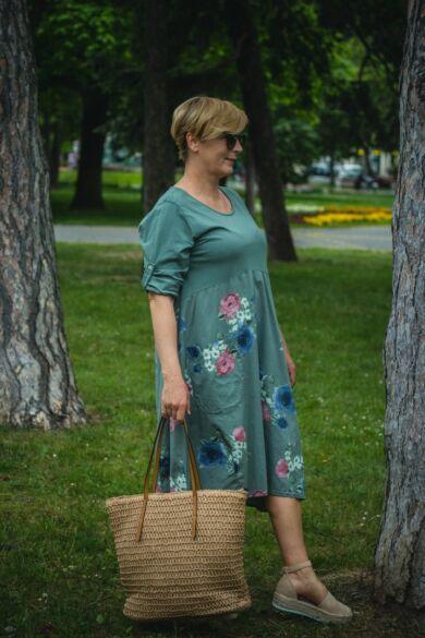 Paola laza stílusú zöld pamut virágos ruha