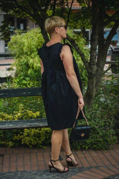 Leola fekete pamut vászon ruha