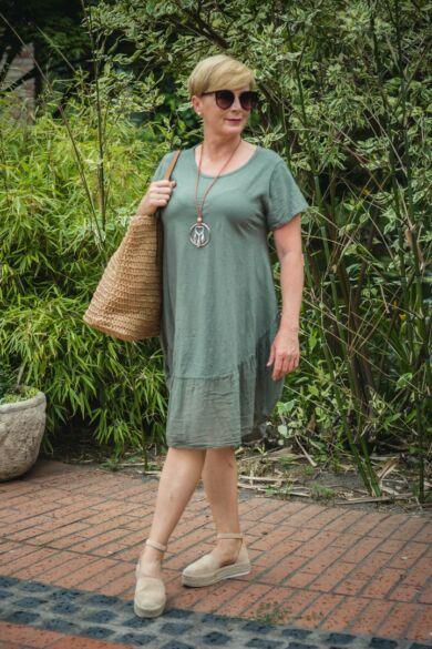 Wendy zöld pamut A vonalú alján fodros tunika