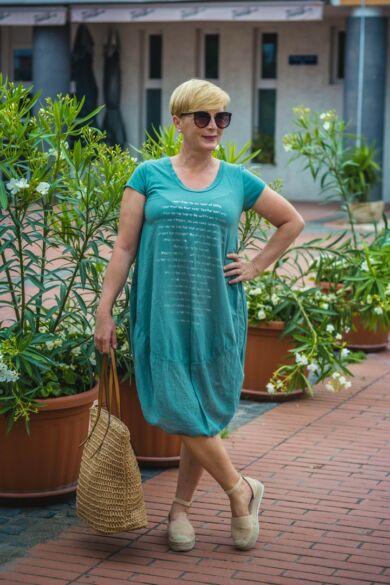 Zöld pamut buborék fazonú ruha