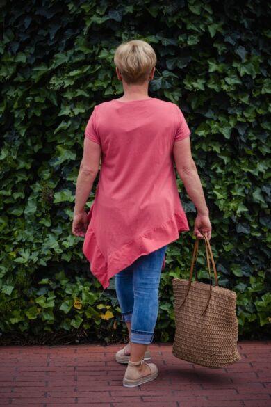 Eliza lazacszínű pamut A vonalú, alján fodros póló