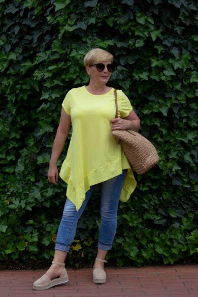 Eliza sárga pamut A vonalú, alján fodros póló