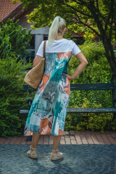 Eleonóra  narancs,zöld mintás pliszírozott maxi-ruha