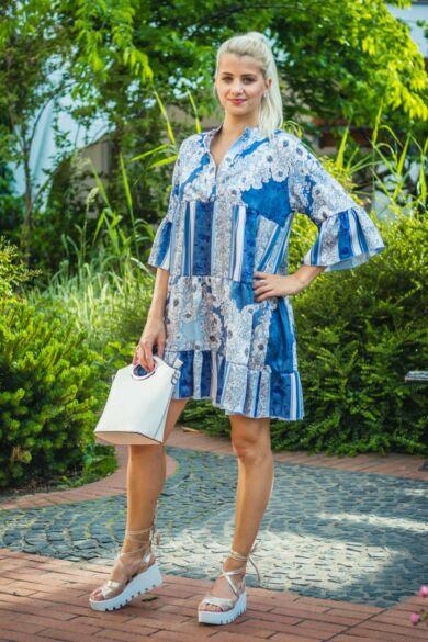 Virginia kék színű, virágos fodros tunika-ruha