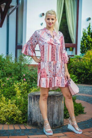 Virginia barack színű, virágos fodros tunika-ruha