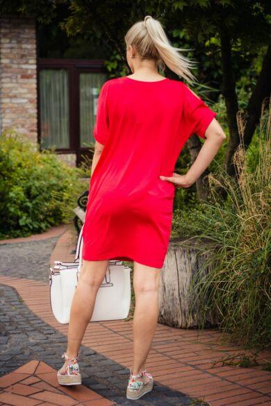 Lady piros puha pamut zsebes tunika