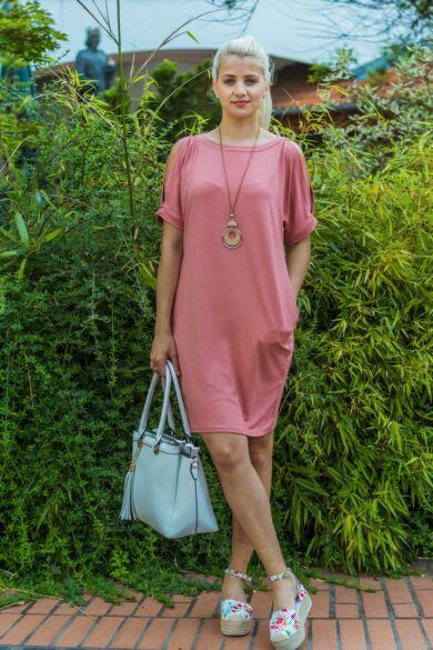 Lady lazacszínű puha pamut zsebes tunika