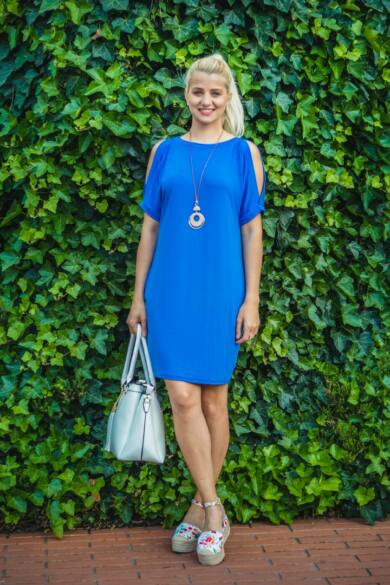 Lady kékszínű puha pamut zsebes tunika