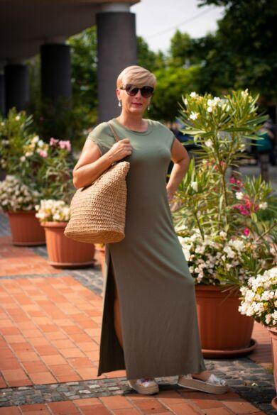 Tamarella zöld, egyenesvonalú pamut maxi ruha