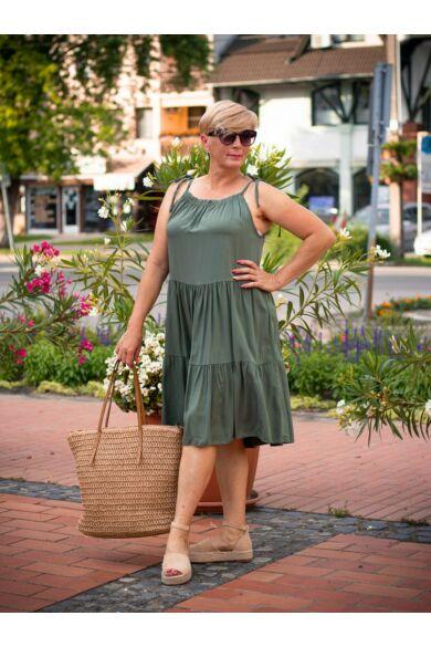 Jazmine zöldszínű vállrésznél megkötős, fodros pamut-vászon ruha