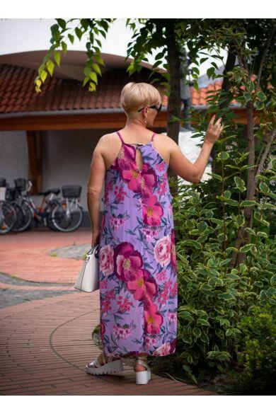 Grace lila alapon, színes virágos muszlin maxi ruha