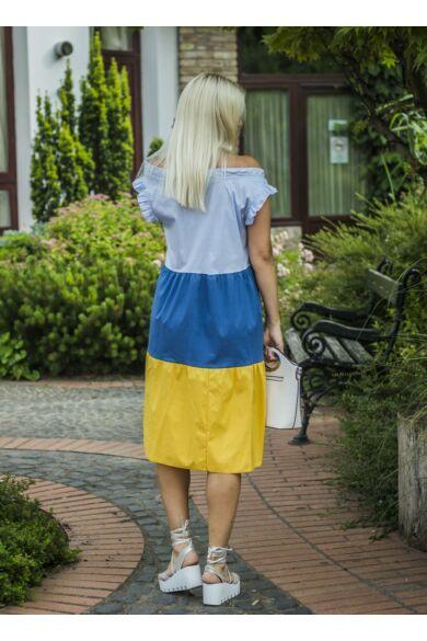 Riana világoskék- kék-sárgaszínű pamut-vászon fodros ruha