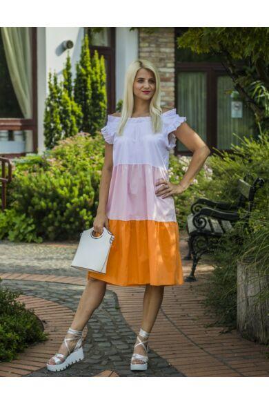 Riana fehér-rózsaszín-narancsszínű pamut-vászon fodros ruha