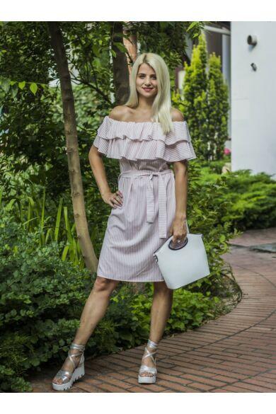 Karen púder-fehér csíkos, vállrésznél fodros ruha