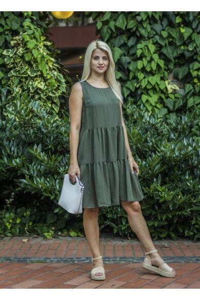 Rubina zöldszínű ujjatlan, fodros ruha