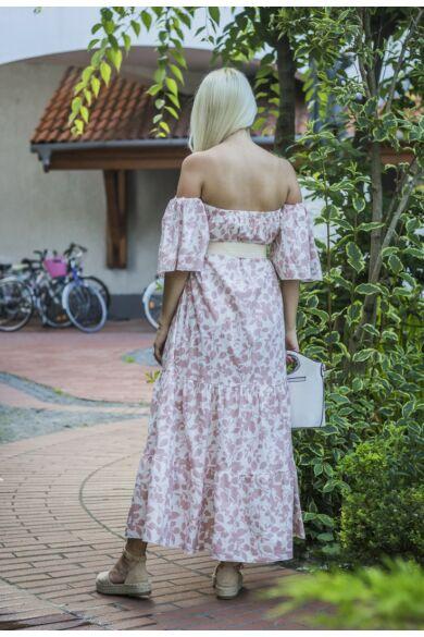 Arya fehér alapon púder mintás, fodros maxi ruha