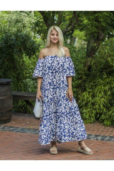 Arya fehér alapon kék mintás, fodros maxi ruha
