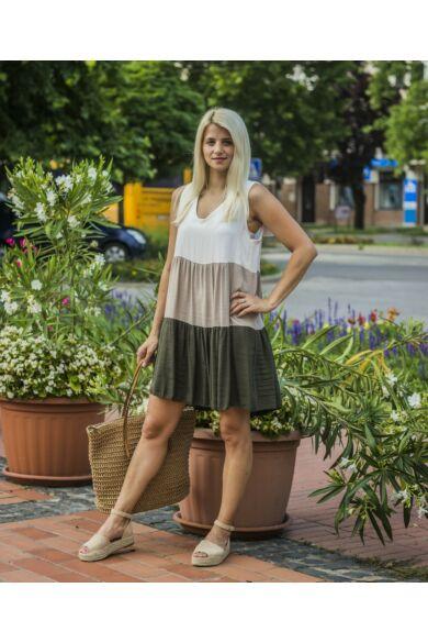 Isabelle fehér-bézs-zöld fodros ruha