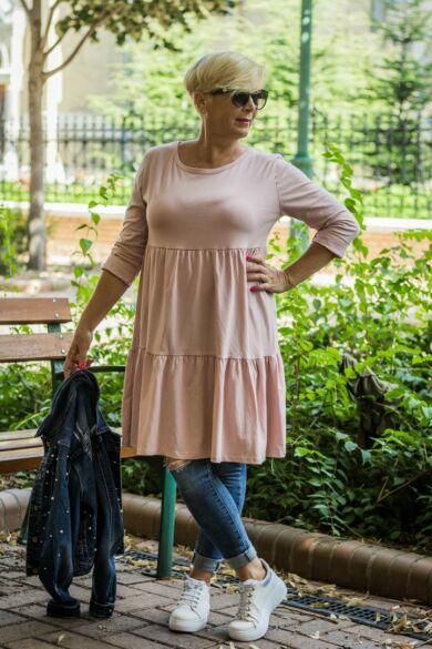 Liviána púderszínű fodros puha pamut tunika-ruha