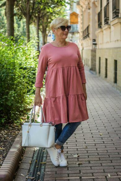 Liviána lazacszínű fodros puha pamut tunika-ruha