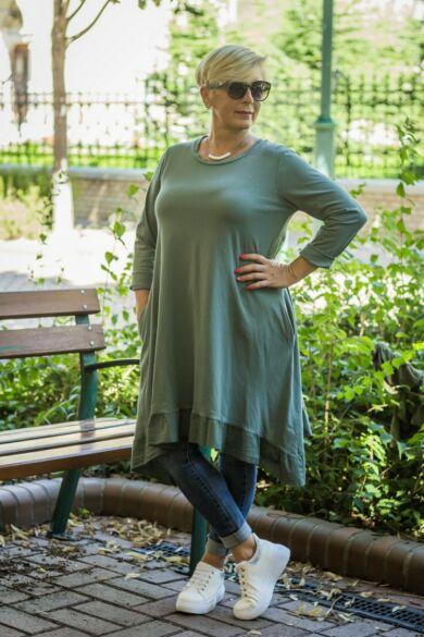 Loréna zöld alján fodros A vonalú, oldalán zsebes pamut tunika