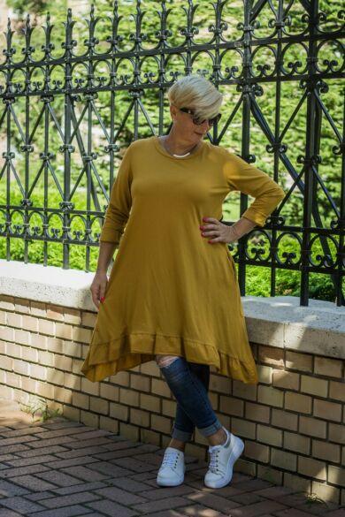 Loréna mustárszínű alján fodros A vonalú, oldalán zsebes pamut tunika