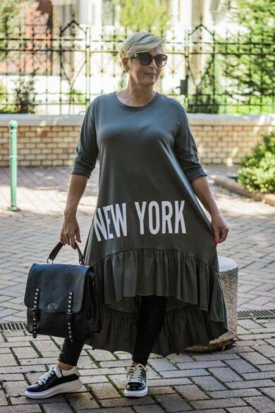 Zilia zöldszínű pamut tunika, elején New York felirattal