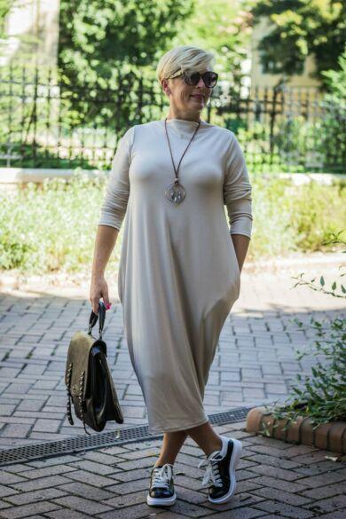 Mia bézs színű zsebes pamut tunika-ruha