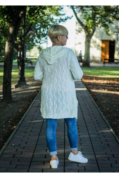 Tara fehér csavart mintás, zsebes,kapucnis kötött kardigán