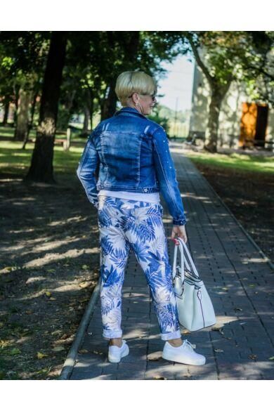 Kékszínű levélmintás rugalmas pamut-vászon nadrág