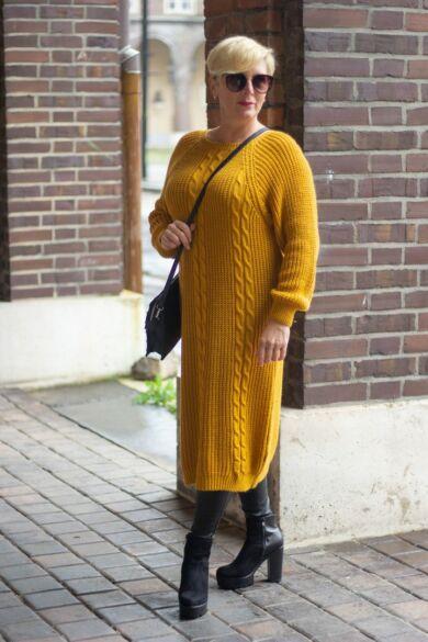 Mustár színű kötött hosszított pulóver
