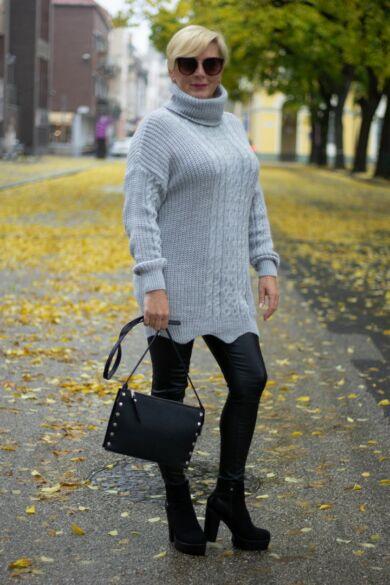 Louise szürke kötött pulóver