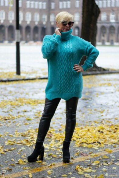 Louise zöld kötött pulóver