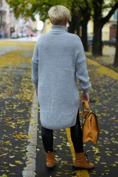 Luna szürke kötött garbó nyakú pulóver
