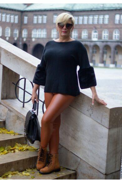 Melissa feketeszínű puha kötött pulóver