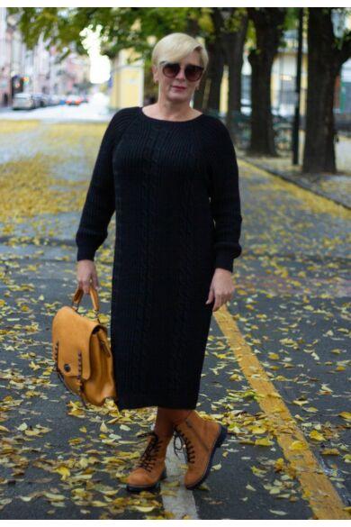 Fekete színű kötött hosszított pulóver