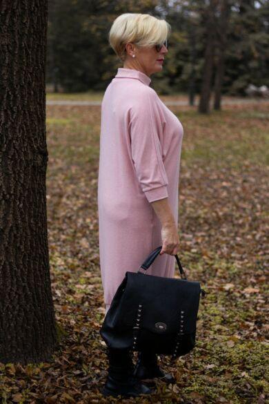 Sarah púder színű finom kötött maxi pulcsi
