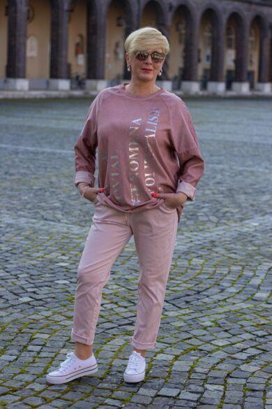 Púder színű rugalmas pamut-vászon nadrág, gumis derékrésszel