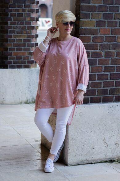 Cara felső, púder szín alapon fehér mintás pamut