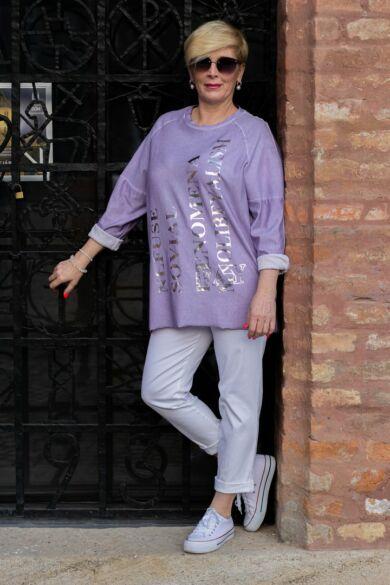 Fehér színű rugalmas pamut-vászon nadrág, gumis derékrésszel