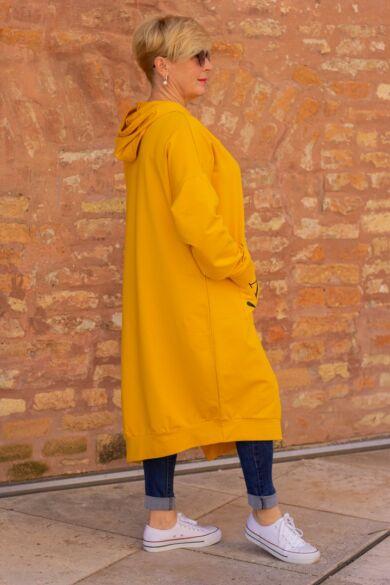 Yesstory sárga színű kapucnis pamut tunika