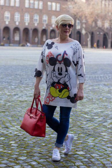 Mickey egér mintás felső fehér alapon