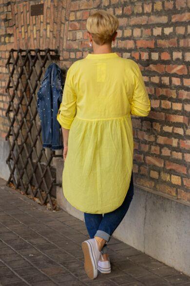Aurora nap sárga színű, félig gombos, alján ráncolt ing