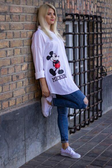 Mickey egér mintás fehér színű ing