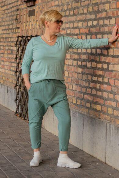 Menta zöld pamut ülepes nadrág
