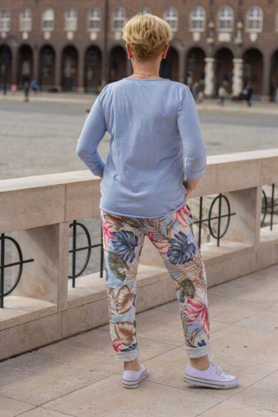 Kék mintás gumírozott derekú rugalmas pamut-vászon nadrág