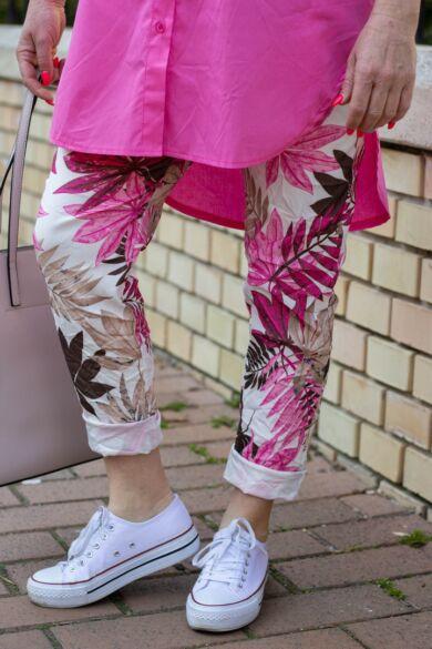 Pink színű páfrányos nadrág