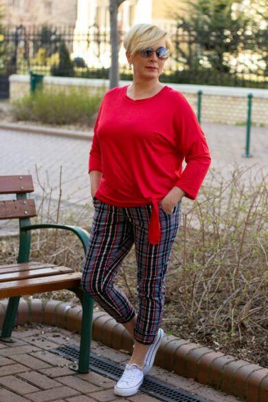 Kék- piros kockás, gumis derekú, rugalmas pamut-vászon nadrág