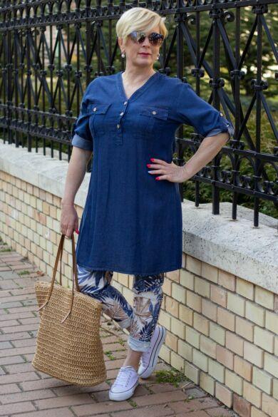 Kék színű páfrányos nadrág