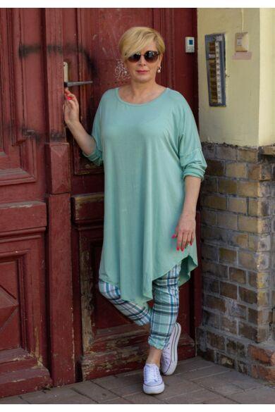 Xénia zöld színű, laza stílusú pamut tunika